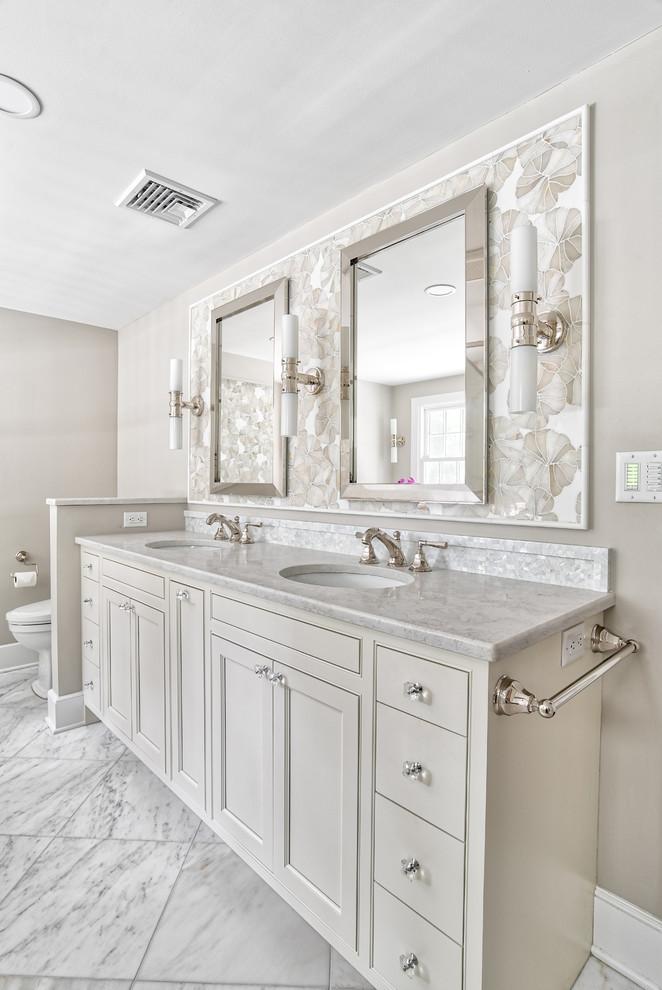 Custom Double Vanity With Mosaic Backsplash Details Traditional Bathroom New York By Kraftmaster Renovations