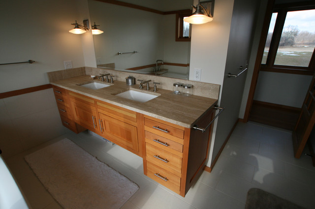 Custom Douglas Fir Vanity Traditional Bathroom New
