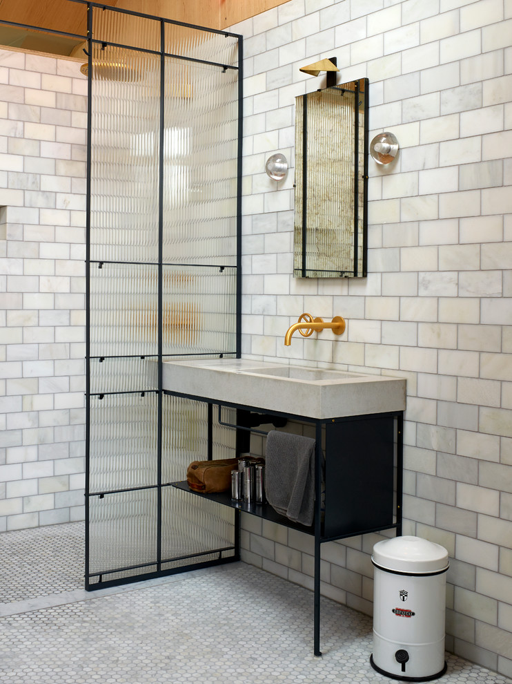 Walk-in shower - contemporary white tile walk-in shower idea in Other with a console sink and open cabinets