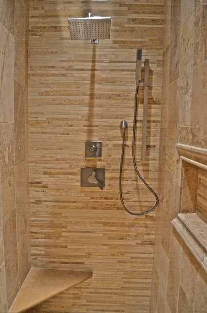 Custom Ginshan Travertine Shower Contemporary Bathroom