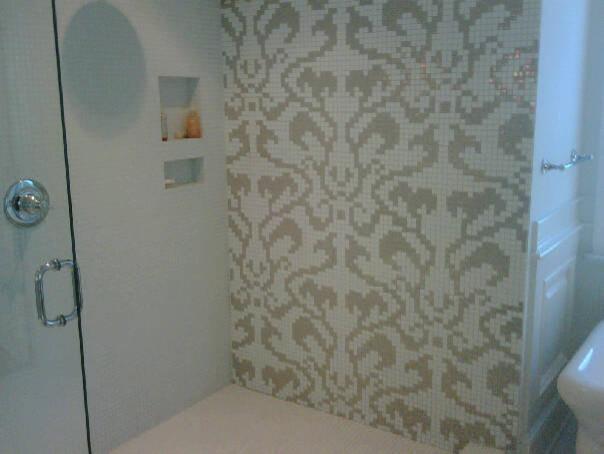 Modern Bathroom Feature Tiles : Custom glass mosaic feature wall modern bathroom