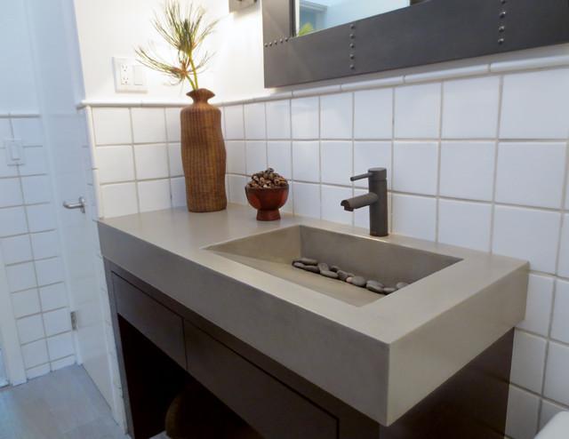 Custom Gray Concrete Ramp Bathroom Vanity Sink Contemporary Bathroom