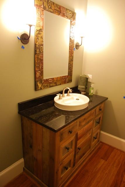 Custom Home with Semi Open Floor Plan Rustic Bathroom