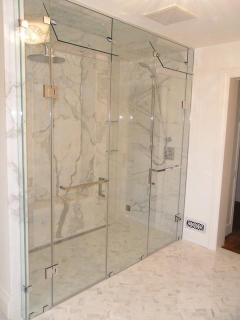 Custom Inline Double Shower Door With Steam Vent Modern Bathroom Toronto By Doors More