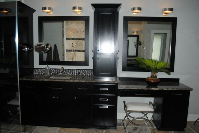Custom Java Cabinets, Crown Moulding and Framed Mirrors traditional-bathroom