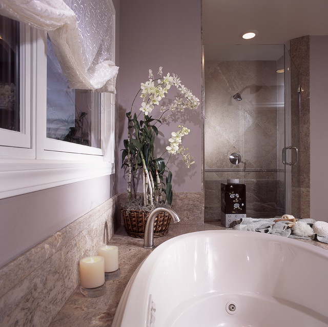 Bathroom - mid-sized transitional master beige tile and cement tile ceramic floor and gray floor bathroom idea in Hawaii with flat-panel cabinets, beige cabinets, an undermount tub, beige walls, a vessel sink, engineered quartz countertops and beige countertops