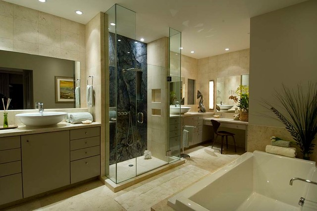 Bathroom - mid-sized contemporary master blue tile and stone slab ceramic floor and beige floor bathroom idea in Hawaii with flat-panel cabinets, gray cabinets, beige walls, a vessel sink, granite countertops, a hinged shower door and beige countertops