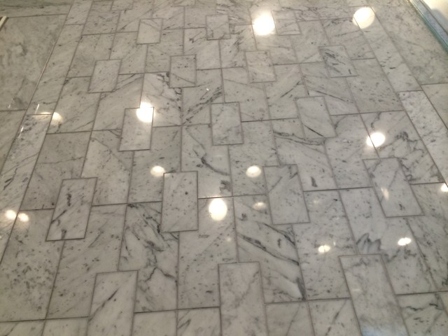 Stone And Tile Works : Custom laser cut marble tile contemporary bathroom