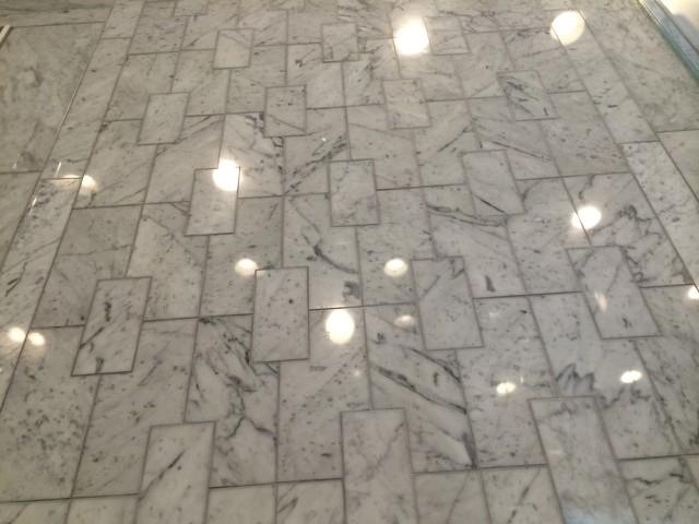 Custom Laser Cut Marble Tilecontemporary Bathroom Chicago