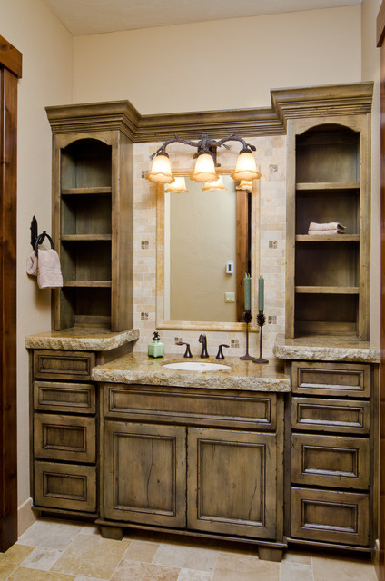 Custom lodge home in caldera springs rustic bathroom for Custom bathroom vanity designs
