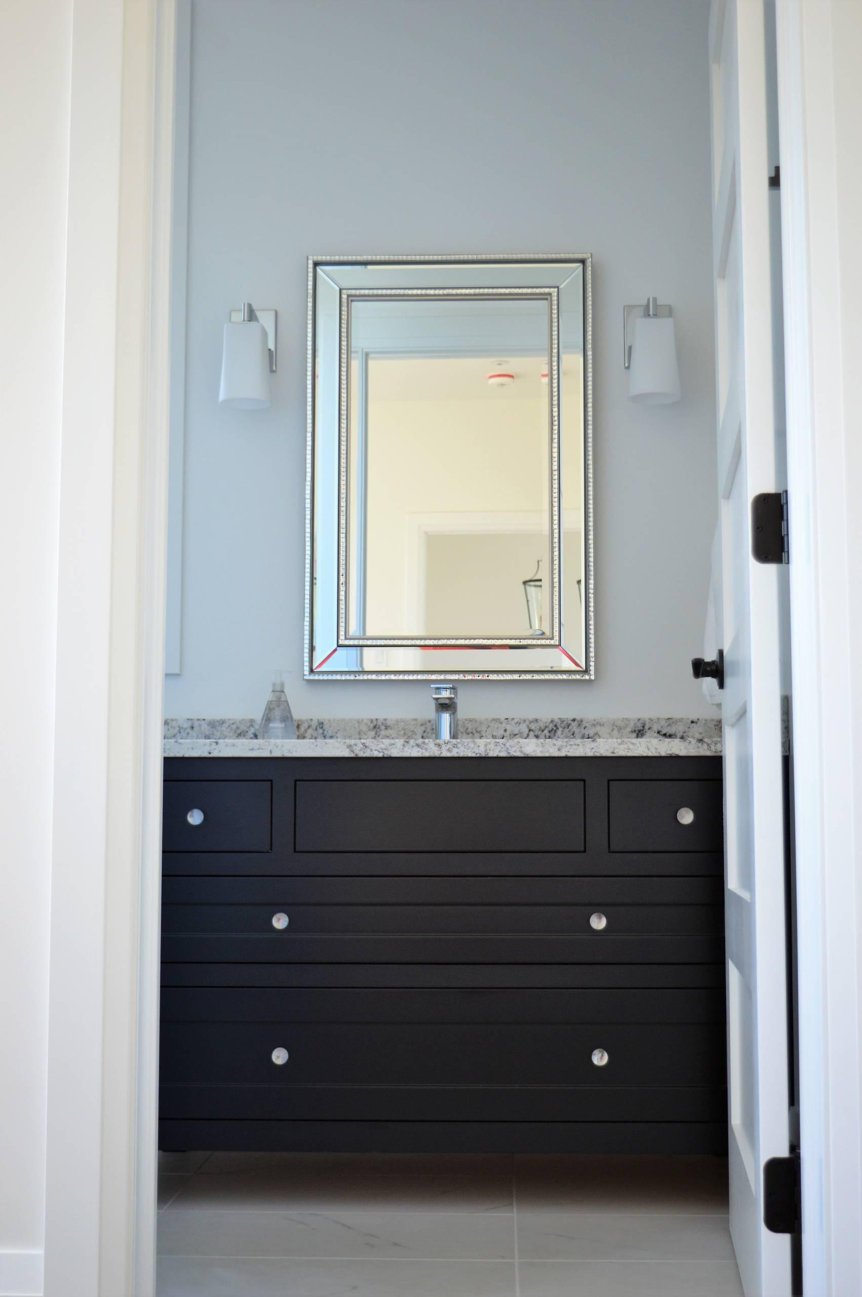 Custom made face framed black vanity