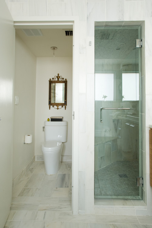 Reduce your water waste - Wall wardrobe with bathroom behind pictures ...