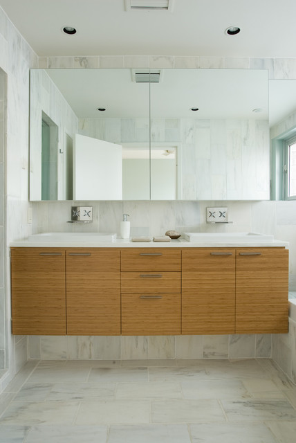 custom marble tile, bamboo cabinetry contemporary-bathroom