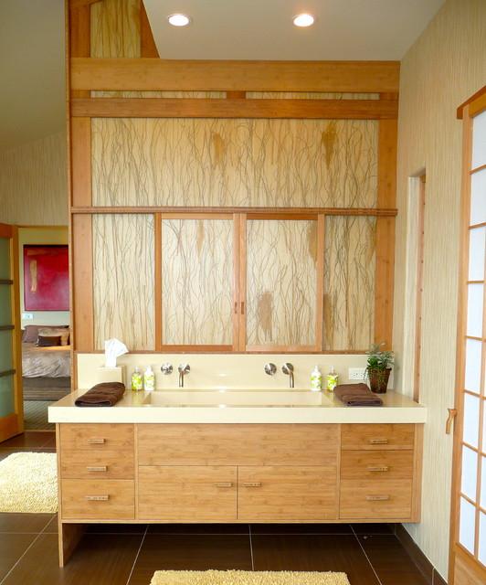 custom master bath vanity utilizing lumicor contemporary