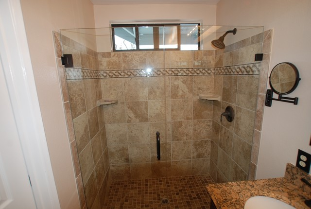 Custom mosaic border row frameless shower doors in laguna niguel mediterranean bathroom for Bathroom mirrors orange county