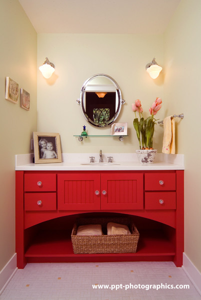 Custom red bathroom cabinet eclectic bathroom grand for Bathroom cabinets grand rapids mi