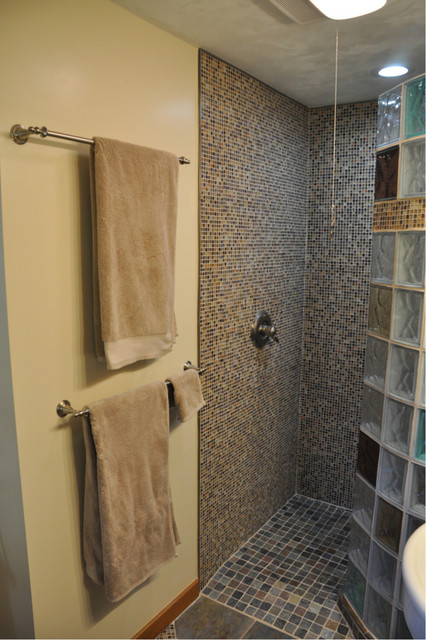 Custom shower base for a curved walk in glass block wall new york transitional bathroom - Walk in shower base ...