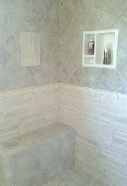 Custom Shower With Built In Seat And Cubbie Mediterranean Bathroom Portland Maine By