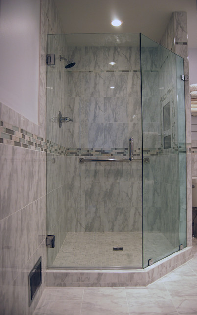 Custom Shower With Neo Angle Door Traditional Bathroom