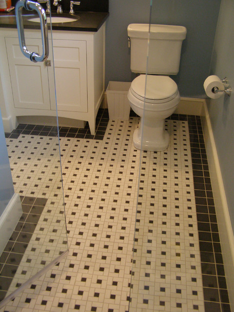 Example Of A Mid Sized Classic 3/4 Black And White Tile And Ceramic