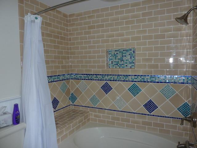 custom tile bathroom tub surround transitional bathroom