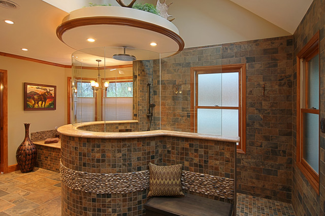 Custom tile master bath eclectic bathroom st louis for Different bathrooms