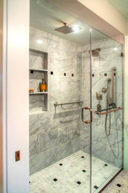 Custom Tile Shower Transitional Bathroom