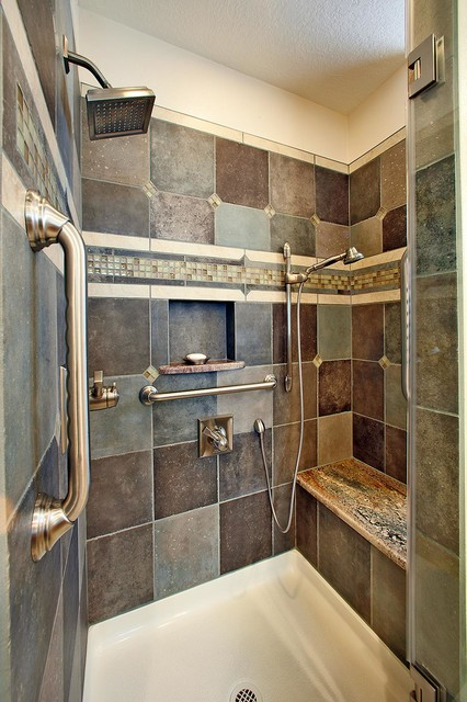 Custom tile shower with bench southwestern bathroom for Bath remodel albuquerque