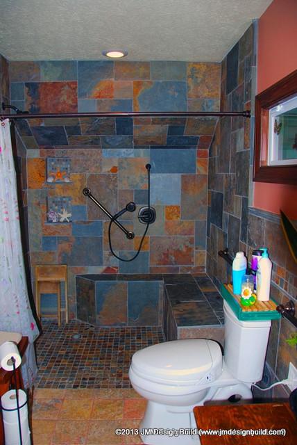 custom tile stand-up shower - contemporary - bathroom - cleveland