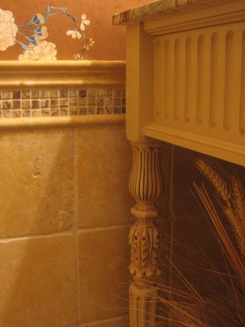Custom traditional buttercream vanity rainforest marble top traditional-bathroom