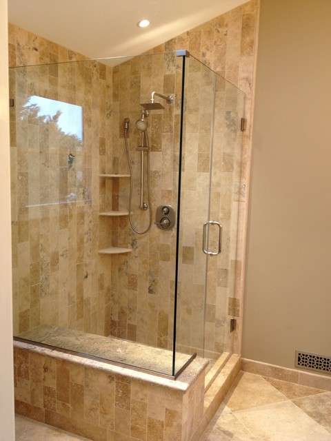 Custom Travertine Shower Mocha Onyx Traditional Bathroom