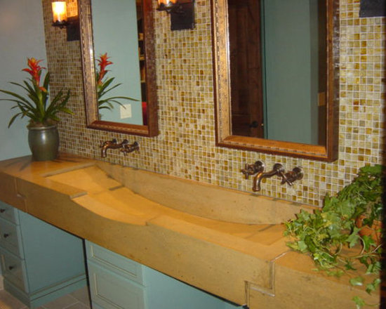 Custom Trough Sink with in-wall Faucets - This is a custom trough sink done for a home in the Central Florida area. This custom sink boasts a custom, but organic look, sure to garner many compliments.