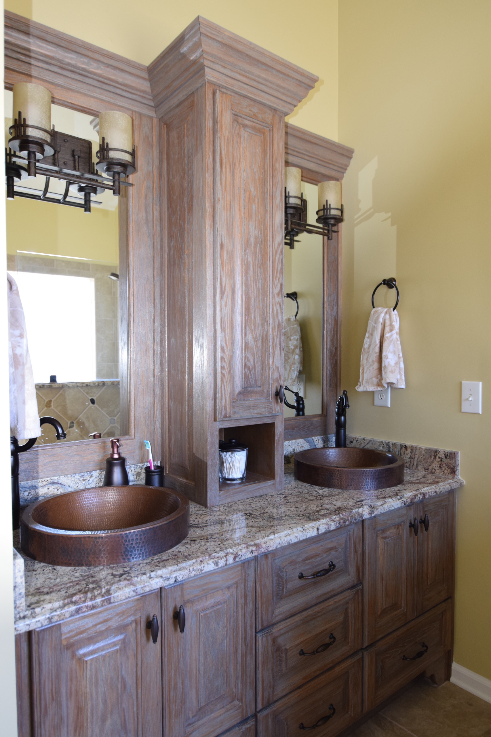 Custom two-process vanity, cabinets and mirrors