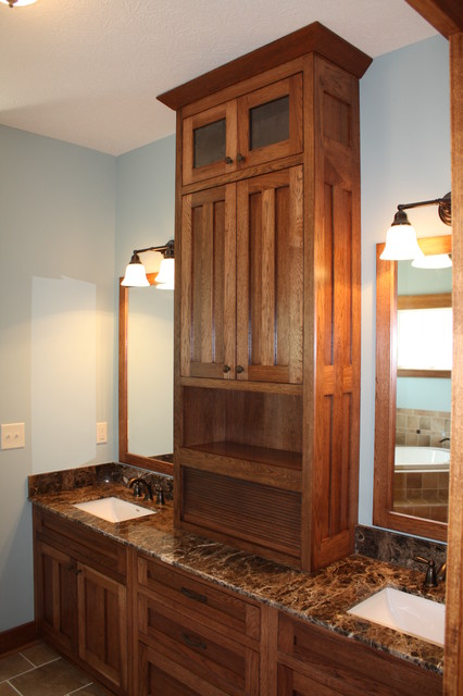 Custom 2 Story Carroll with Hickory Casework traditional-bathroom