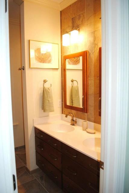 Custom Vanity and Med. Cabinets, Slate Porcelain Wall traditional-bathroom