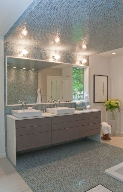 Custom Wall Hung Vanity in Gray Wash Stain and Vessel Sinks contemporary-bathroom