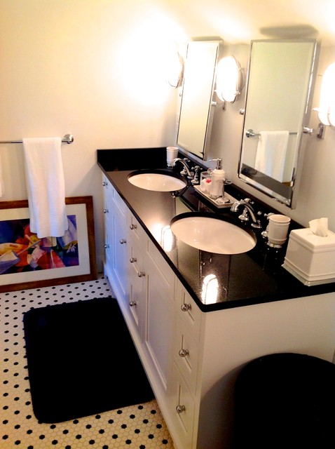 CUSTOM WHITE BATHROOM VANITY WITH BLACK GRANITE TOP   Black Granite Bathroom  .
