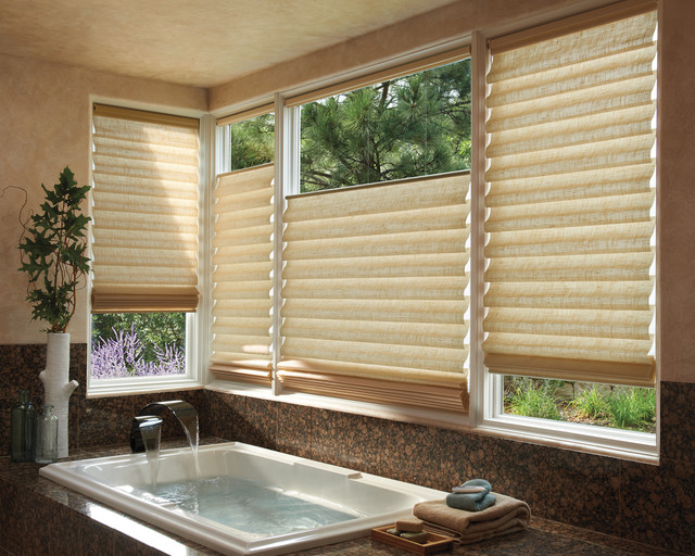 Custom window treatments contemporary bathroom for Bathroom window treatments
