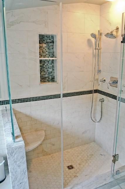 Customer installations transitional bathroom for Crossville tile virtue