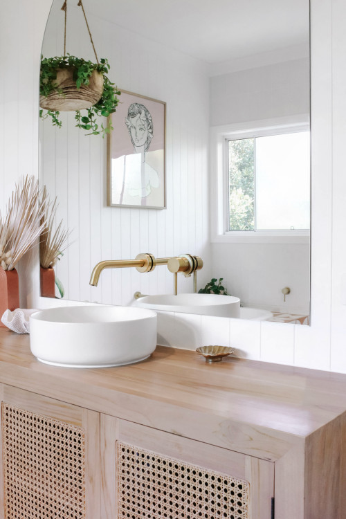 white basin in scandinavian bathroom