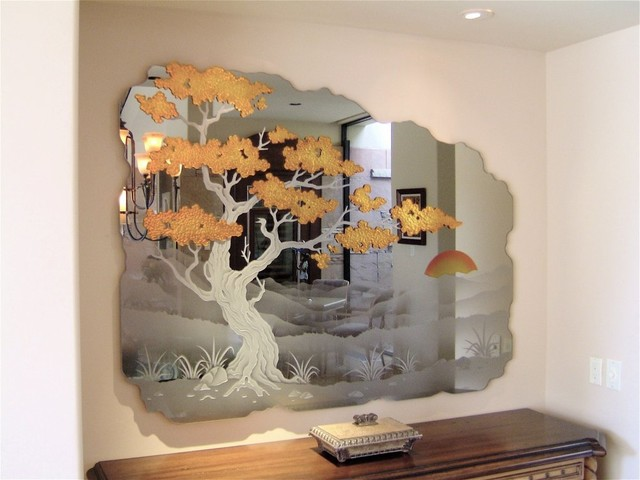 Cypress Tree Decorative Mirror with Etched, Carved Design bathroom