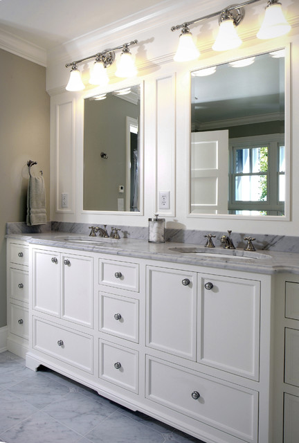 Master bathroom vanity - Traditional bathroom mirror with lights ...