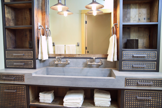 Da concrete sink and custom vanity industrial bathroom