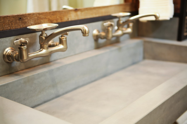 DA concrete sink and custom vanity Industrial Bathroom Other – Industrial Bathroom Sinks