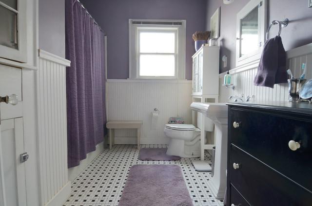 Bathroom Traditional Black And White Tile Multicolored Floor Idea In Dallas