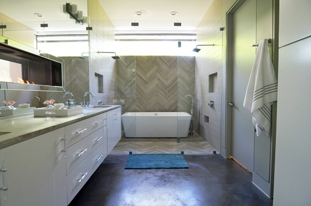 Bathroom - contemporary master gray tile concrete floor bathroom idea in Dallas with an undermount sink, flat-panel cabinets, white cabinets and beige walls