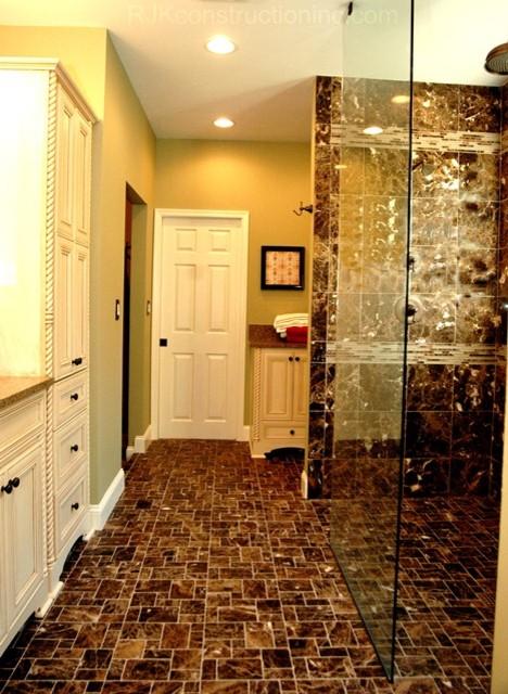 Dark Emperador Marble Bathroom Traditional Bathroom