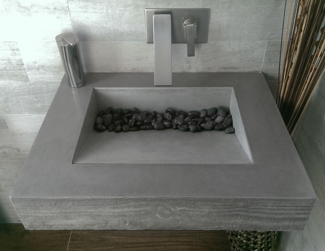 Dark Gray Concrete ADA Compliant Bathroom Sink contemporary-bathroom