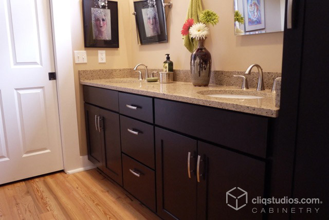 Dark Mission Bath Cabinets Cliqstudios Traditional Bathroom