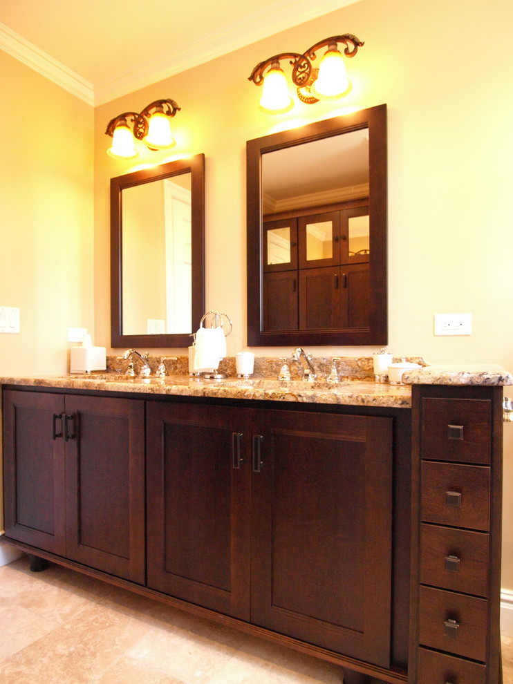 Dark Wood Double Vanity - His & Hers - Transitional ...